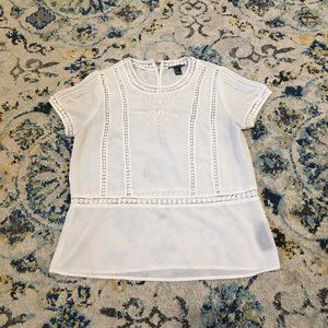Forever 21 White Embroidered See Through Top